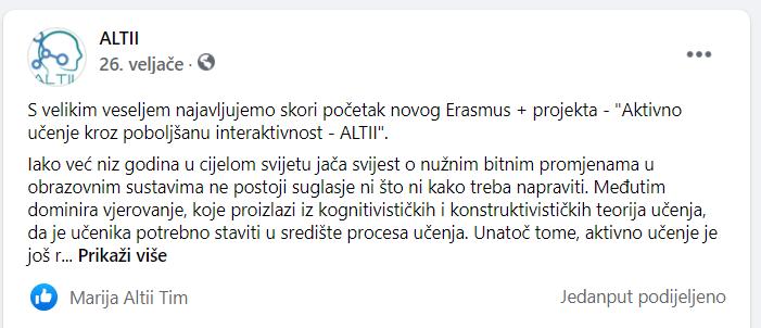 Facebook objava o početku rada projekta ALTII