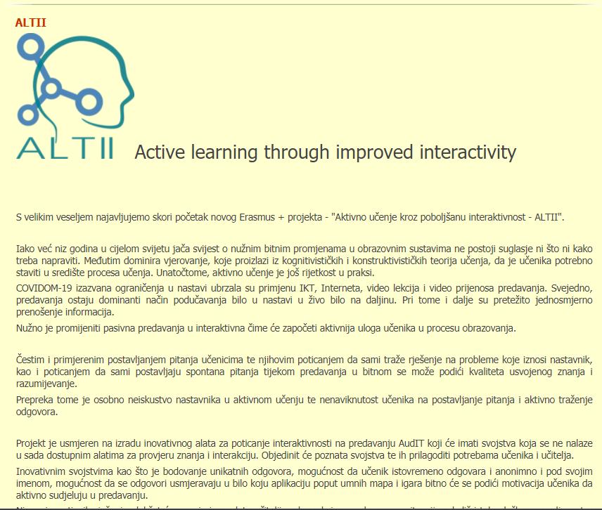 Aquilonis web objava o početku rada projekta ALTII