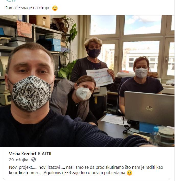 Facebook-Objava o internom sastanku timova Aquilos i FER