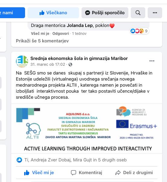 SEŠG – Maribor facebook objava KO sastanka