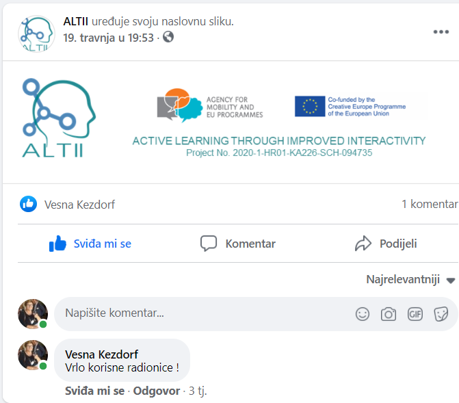 Facebook – Radionica IKT alata za interaktivnost O1-A1-1