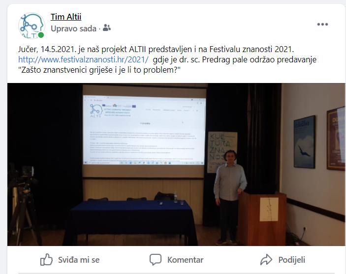 Facebook-Projekt ALTII na Festivalu znanosti 21