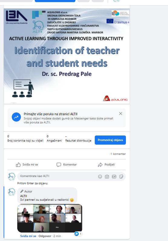 """Facebook objava o ALTII radionici """"Identifikacija potreba učitelja i studenata"""""""