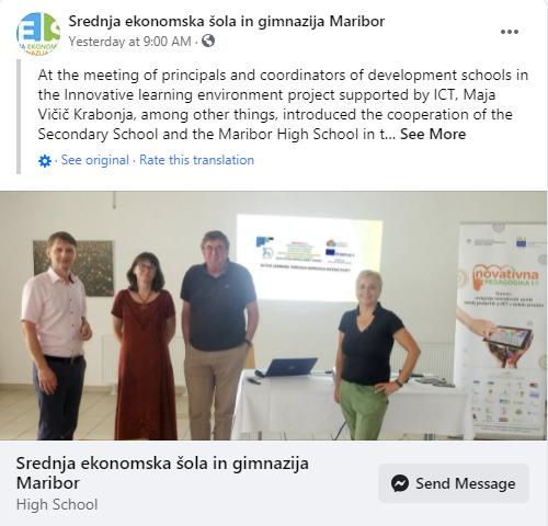 SEŠG – facebook objava o predstavljanu ALTII projekta