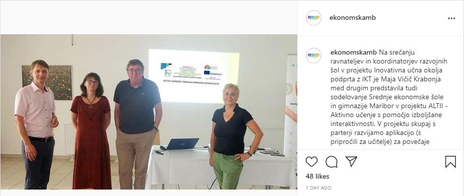 SEŠG – instagram objava o predstavljanu ALTII projekta