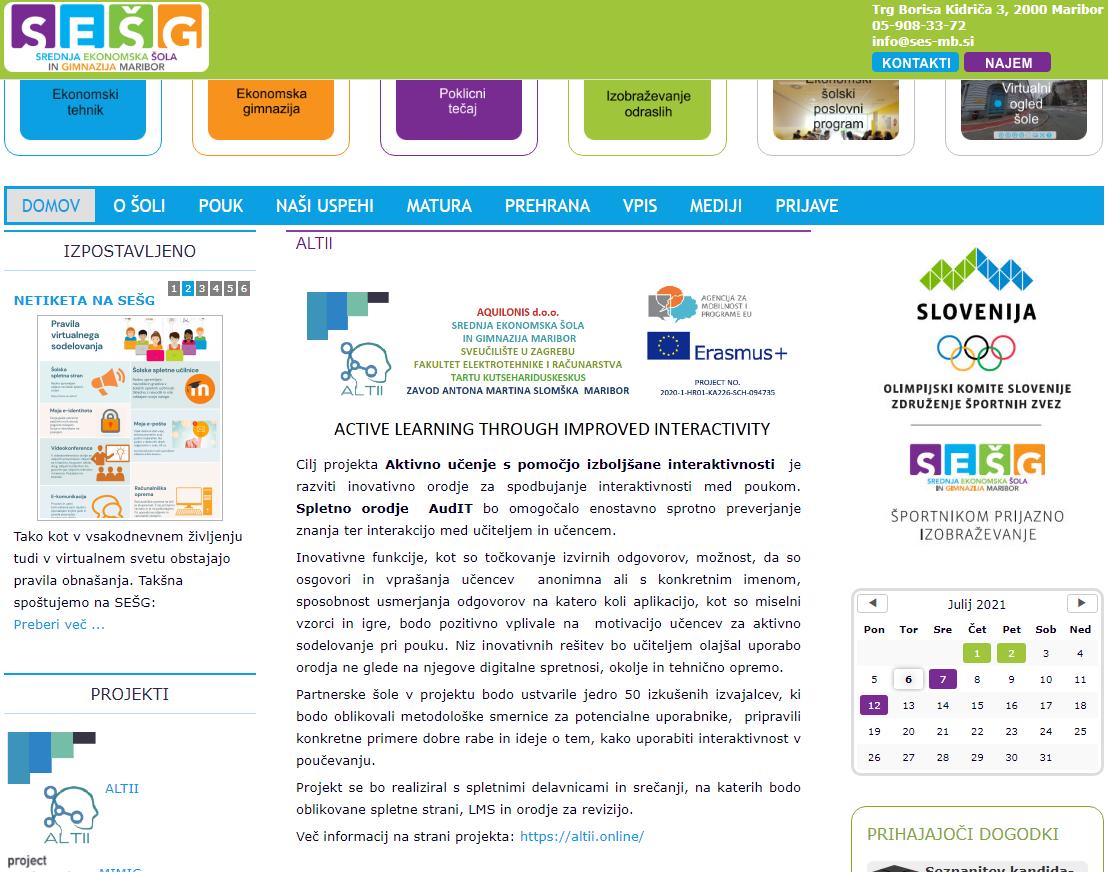 SEŠG – objava o ALTII projektu na web stranici škole