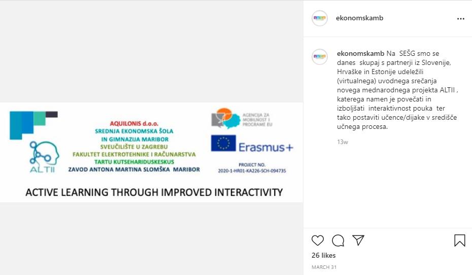 SEŠG – instagram objava o ALTII kickoff sastanku