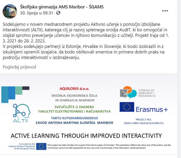 Facebook – obavijest o početku projekta ALTII